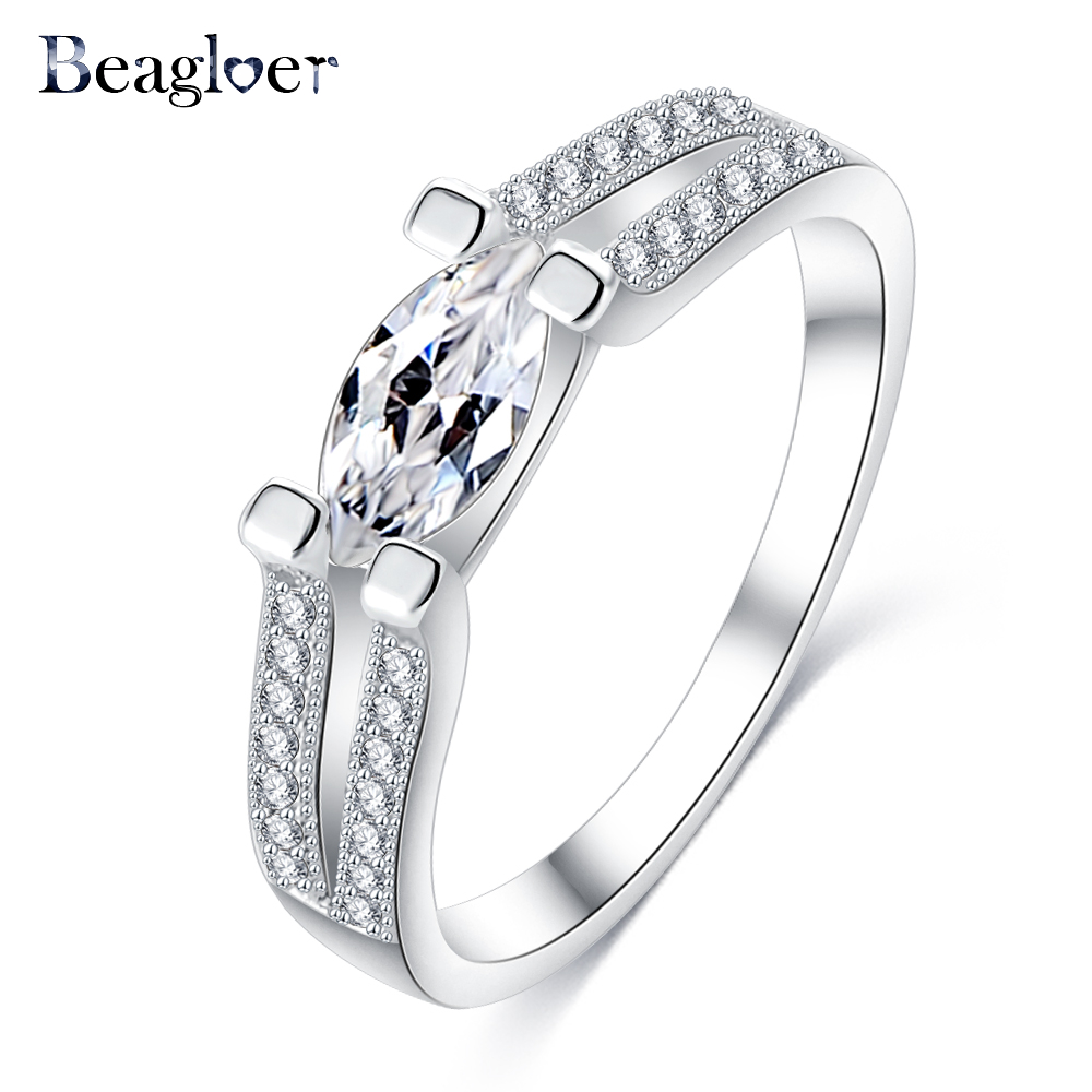 Beagloer Fashion Simple Design Rings Silver Color Cubic Zirconia Stone  Finger Ring Gift Engagement Jewelry Cri0300