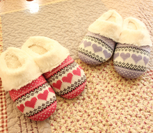 Winter Furry Slippers Women Love Pattern Knitted Home Cotton-Padded Shoes  Home Cotton-Padded Slippers Soft Outsole