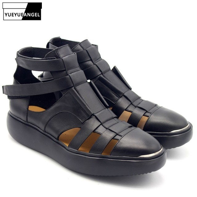 6e342a8afe45e6 2019 New Gothic Thick Platform Mens High Top Sandals Summer Straps Beach  Hollow Sandals Handmade Genuine Leather Shoes Plus Size