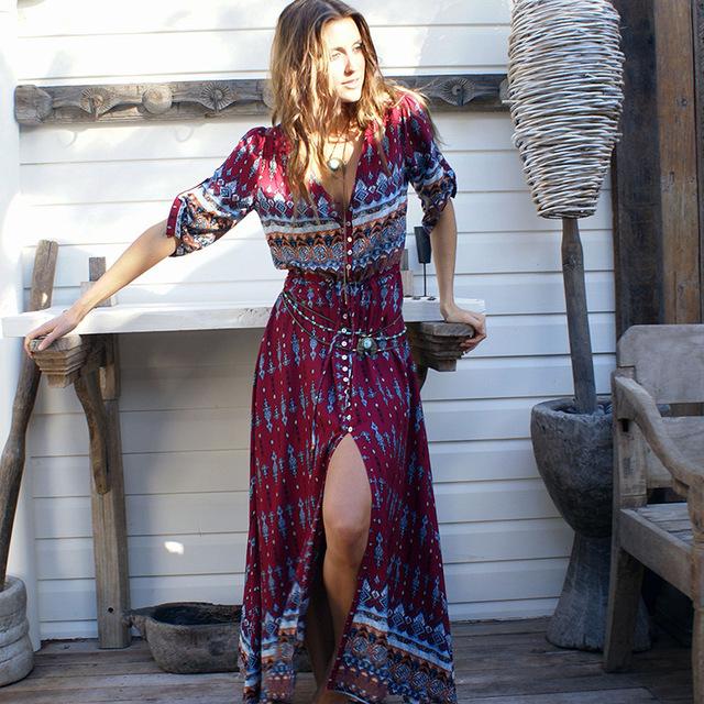 2017 nueva impresión bohemia largo dress mujeres largo maxi dress floral print retro hippie vestidos marca de ropa elegante de boho dress
