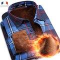 Langmeng 2016 Супер Теплый Вскользь Рубашки качество бренда мужской с длинным рукавом полосатый офис рубашки платья мужская термики для зимы