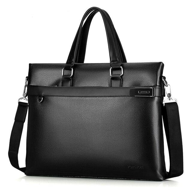 VORMOR Black Leather High Quality Messenger Bag