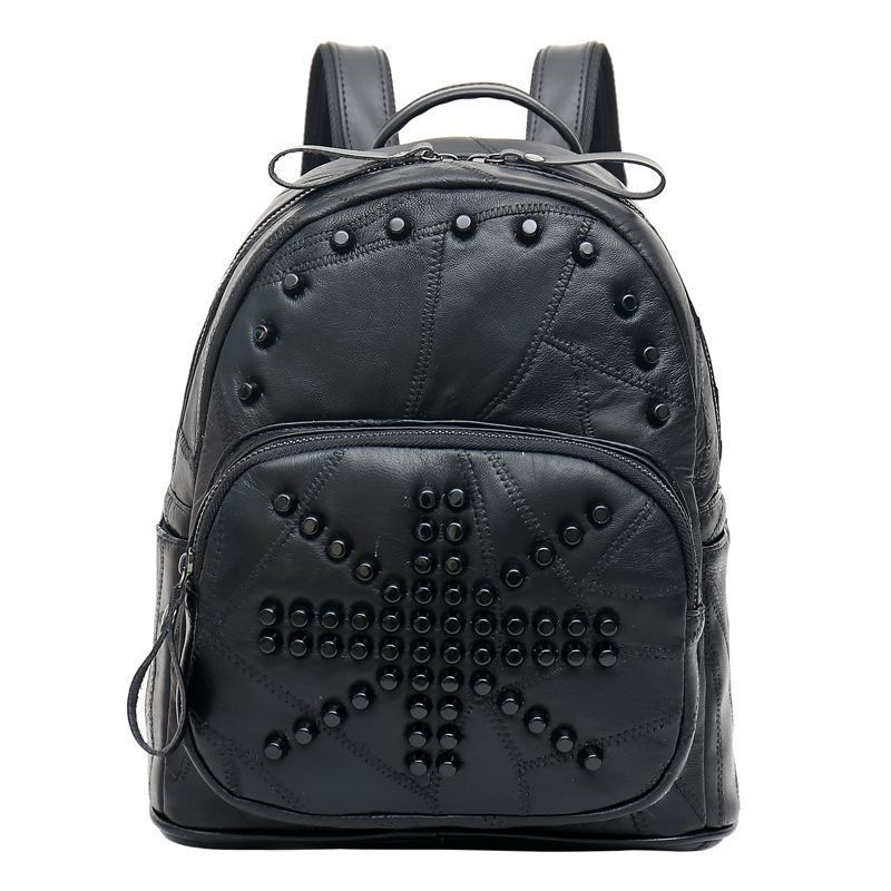 High grade Women Backpack Rivet Leather Backpack Travel Backpacks for Teenage Girls Preppy Style Mochila Feminina