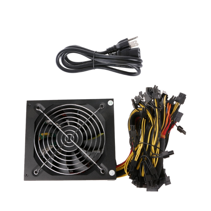 US Plug Miners power supply Fan Set 1600W 12V 128A output Including SATA port 4P 6P 8P 24P connectors USE FOR RX470 RX480 RX570 eu plug miners power supply fan set 1600w 12v 128a output including sata port 4p 6p 8p 24p connectors use for rx470 rx480 rx570