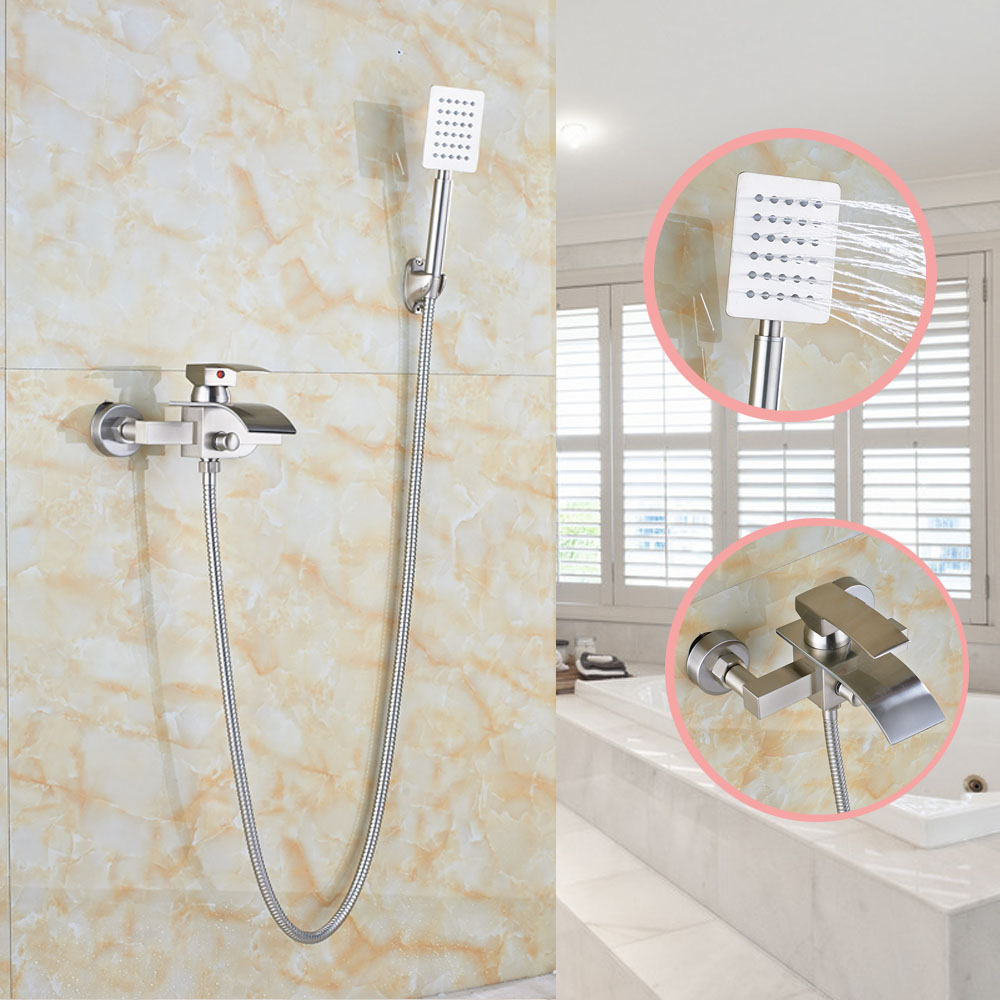 Nickel Brushed Wall Mounted Bathroom Shower Faucet Tub Mixer Tap With Brass Hand Sprayer deck mounted 5pcs widespread bathroom tub faucet with hand shower nickel brushed finished