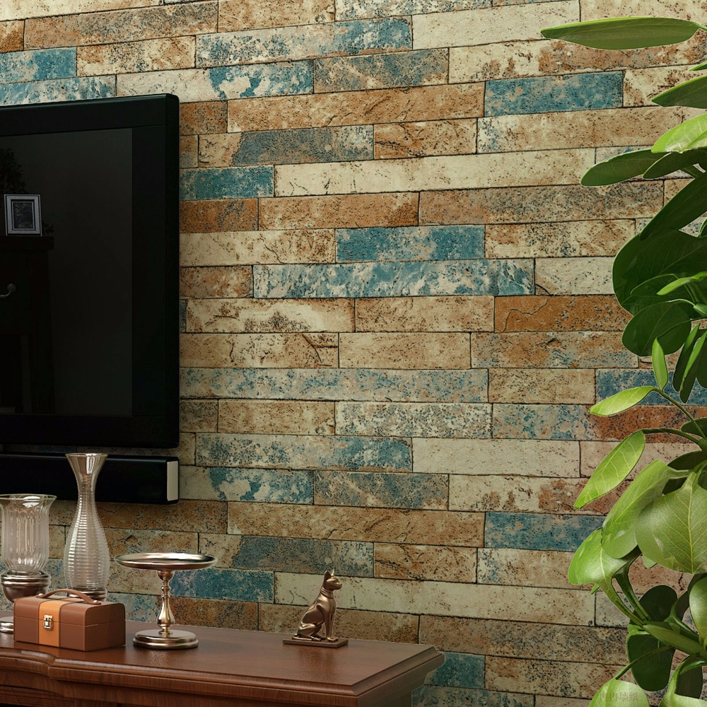 10M 3D Stereoscopic Imitation Brick Stone Wallpaper Roll for Wall Study Room Living Room Retro Home Decor PVC Vinyl Wall Paper 2 sheet pcs 3d door stickers brick wallpaper wall sticker mural poster pvc waterproof decals living room bedroom home decor