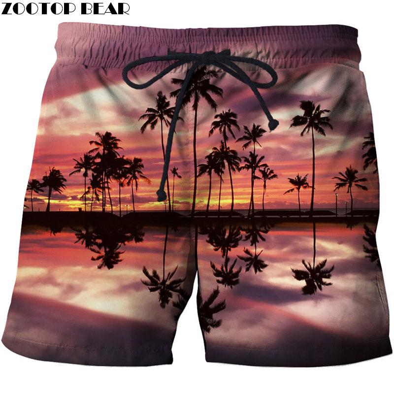 Yangsch Quick Dry Summer Fashion Printed Men Beach Polyester Casual Board Shorts