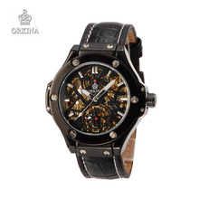 Men s Skeleton Mechanical WristWatches Luxury Brand ORKINA Black Leather Business Watches for Men