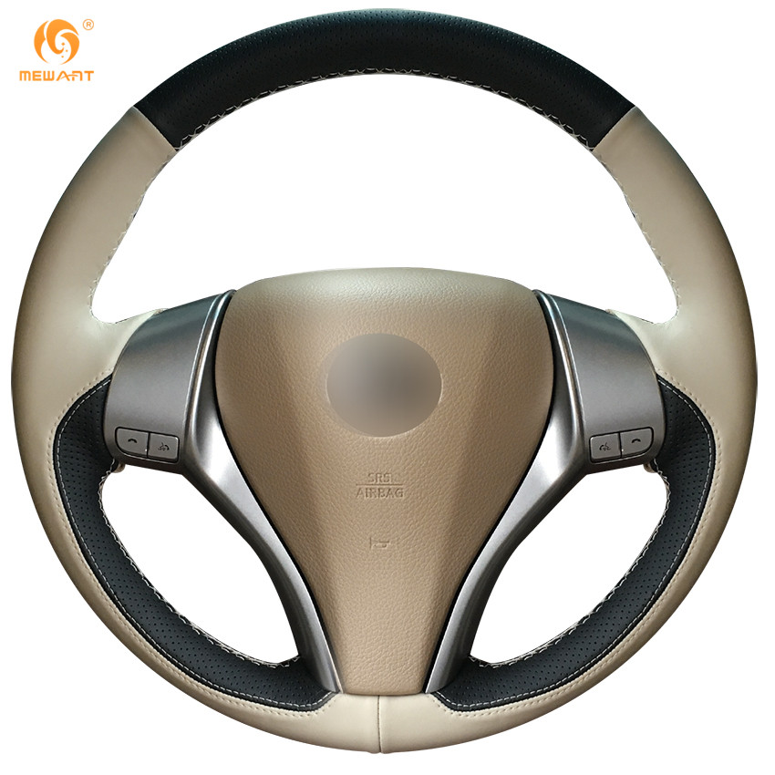 MEWANT Black Beige Leather Car Steering Wheel Cover for Nissan Teana Altima 2013-2016 X-Trail QASHQAI Rogue Sentra Tiida new car styling 2d led light logo auto emblems 3colors for nissan qashqai sylphy sentra teana altima best quality free shipping
