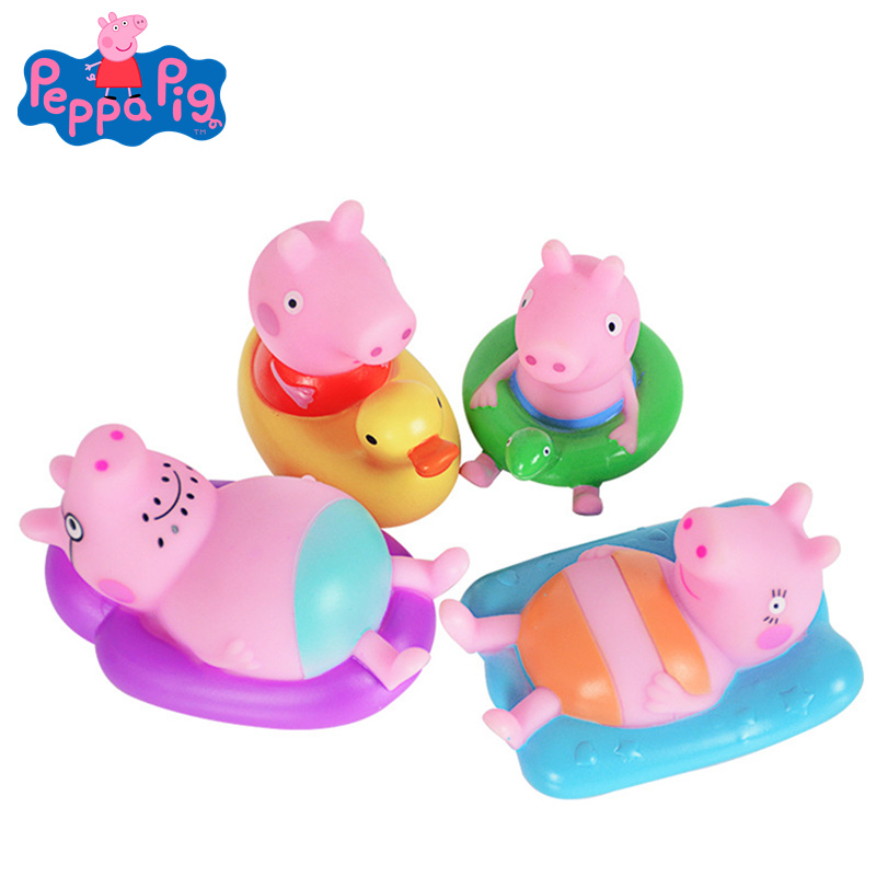 Original Peppa Pig Baby Bathing Playing In The Water Toys A Family Of 4 Set Pinching Doll Action Figure Children's Beach Toys