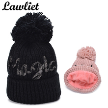 Фотография Lawliet Winter Hats Pom Hat Women Cable Knitted Beanie Fleece Girl Ladies Skullies Bonnet Warmer Big Size Ski Set Head Cap