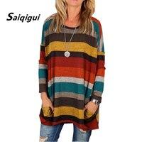 Saiqigui 2018 Spring Autumn Women T Shirt Casual Loose Striped Large Size T Shirt Tracksuit Long