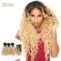 Два тона ломбер бразильские волосы с закрытием ombre наращивание волос 4 шт. с кружевом закрытие, Дешевые 7А Два цвета ombre человеческих волос