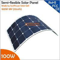 100W 18V Mono Semi Flexible Solar Panel with Front Junction Box 22% High Efficiency SunPower Solar Cell PV moudle for 12V System