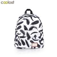 Elegant Black Feather Backpack For Teenage Girls Student School Bags Women Ladies Shoulder Laptop Bag Kids School Backpacks