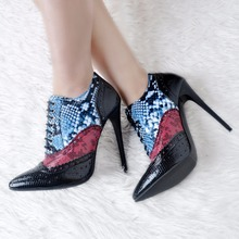 Vintage Pointed Toe Stiletto Heel Booties Mujer Lace Up Ankle Boots New Arrival Snakeskin Wedding Party Dress Shoes Women