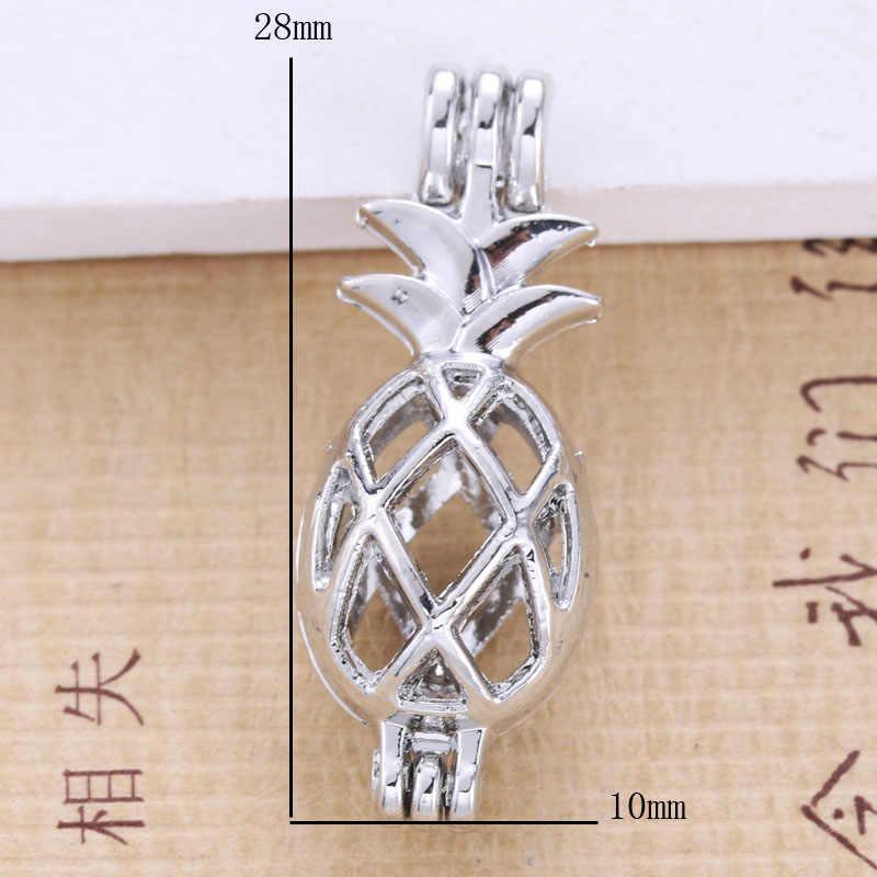 6pcs Silver สับปะรดกรงไข่มุกเครื่องประดับทำลูกปัดจี้น้ำมันหอมระเหย Diffuser Locket สำหรับ Oyster Pearl ของขวัญสนุก