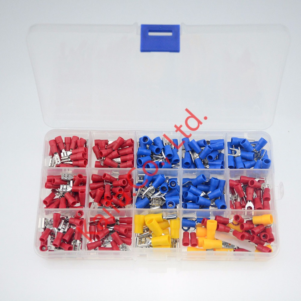280Pcs/Box Insulated Terminals Electrical Crimp Connector Tube Wire Connector Assortment Kit Cold Pressing Copper Terminals