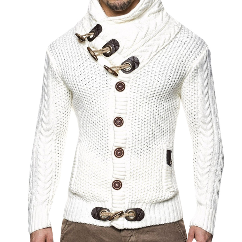 Automne hiver Pull Cardigan Hommes 2018 Mâle Marque Casual Mince Chandails Hommes Cornes Boucle Couverture Épaisse Col Roulé Hommes Chandail