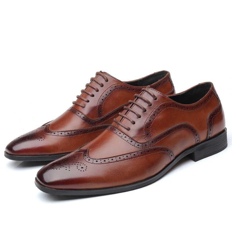 2019 PU หนังผู้ชายรองเท้างานแต่งงานอย่างเป็นทางการรองเท้าผู้ชาย Retro Brogue รองเท้าแบรนด์หรูผู้ชาย Oxfords
