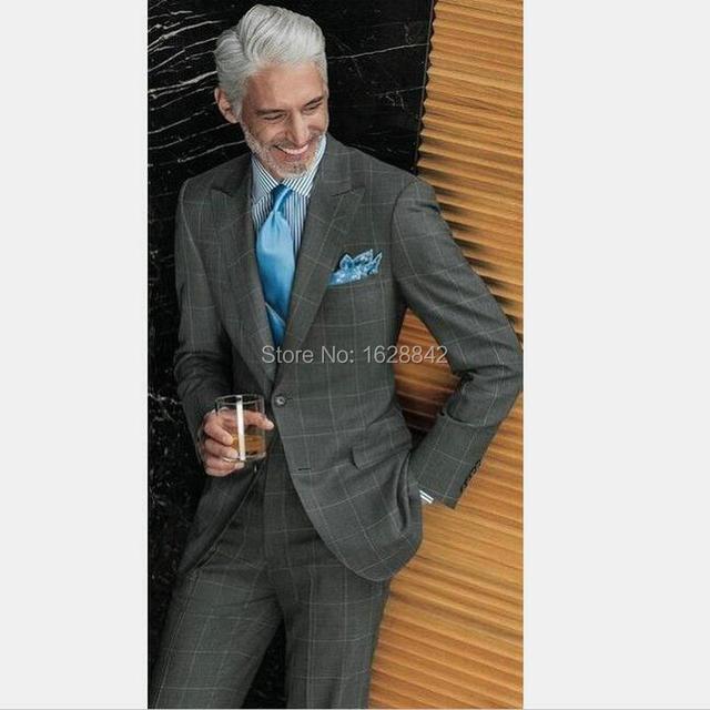 Господа Британский Сетки Костюм Две Кнопки Формальные Свадебное Костюм Для Мужчин На Заказ Slim Fit Жених Носят Смокинги Терно 2 штук