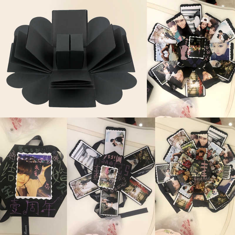 Hourong 1Pc Surprise Gift Box Love Explosion Box For Anniversary DIY Photo Album Birthday Wedding Gift Valentine's Day