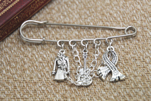 12pcs Sherlock inspired Sherlock Holmes themed charm with chain kilt pin brooch 50mm
