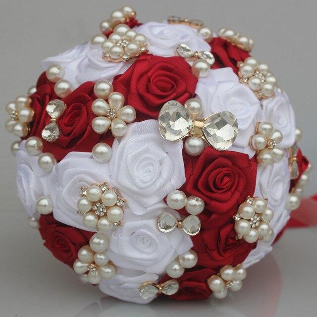 Gorgeous Red White Wedding Bridal Bouquet Elegant Pearl Diamond ...