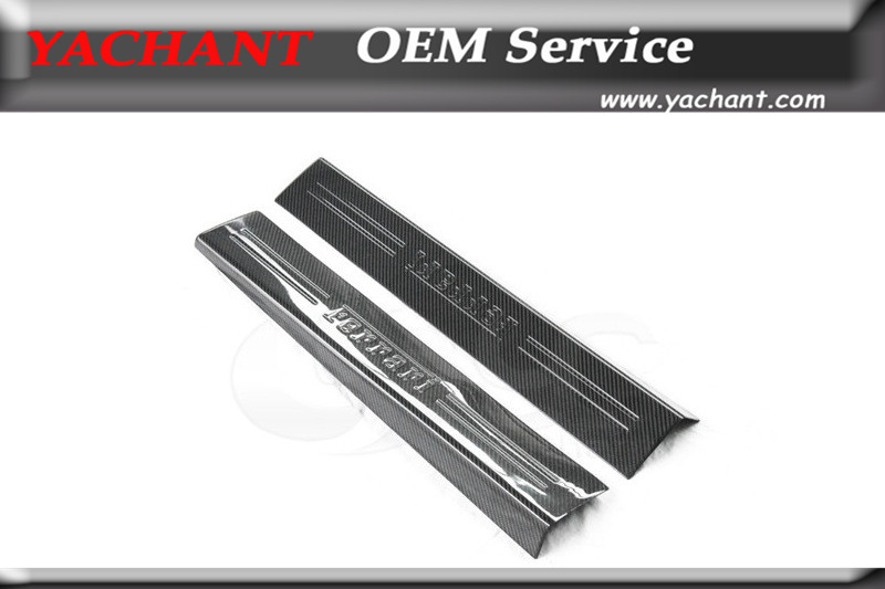Car-Styling Full Carbon Fiber Door Sill 2Pcs Fit For 2012-2015 F12 Berlinetta Door Sill Kick Panel Plate Step Cover Trim