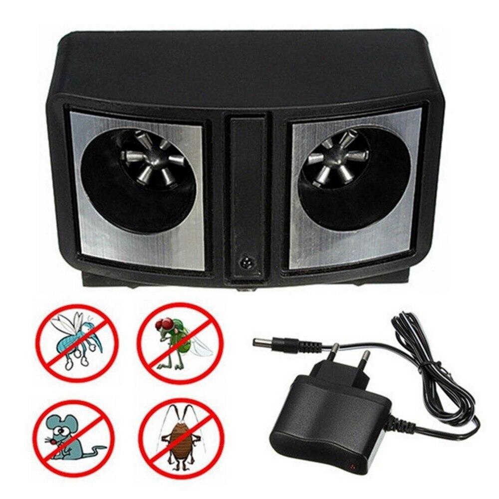 Ahorro de Energía electrónica Ultra sonic repelente de plagas Dual sonic ratones rata Control de roedores Mosquito cucaracha UE Plug baja potencia