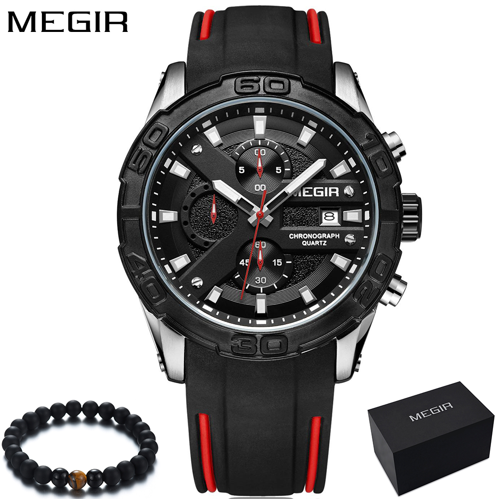 MEGIR Top Brand Fashion Military Sports Black Watch Men Luxury Quartz Silicone Band Men's Wrist Watches Boys relogio masculino стоимость