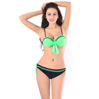 Kawaii Lolita Retro Biquínis Empurrar Para Cima Maiô Sexy Mulheres Verde Dupla Ombro Swimwear Trajes de Banho Biquíni Brasileiro