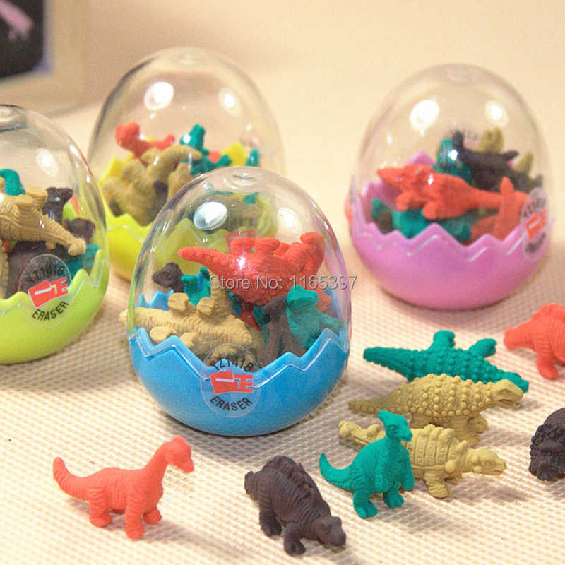 Free ship 96pc cheap children kids Dinosaur Erasers Toys Eggs party toys gifts loot bag pinata fillers school prizes give away