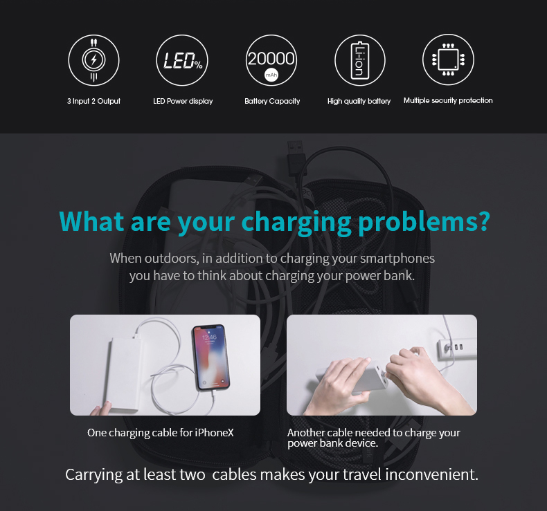 20000mAh ROMOSS LT Power Bank Dual USB External Battery With LED Display Fast Portable Charger For Phones Tablet Xiaomi 6