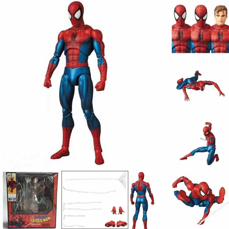 Mafex 075 Marvel Avengers Spiderman MAF075 the Amazing Spider-Man PVC Action Figure Collectible Modelo Crianças Brinquedos Boneca de Presente