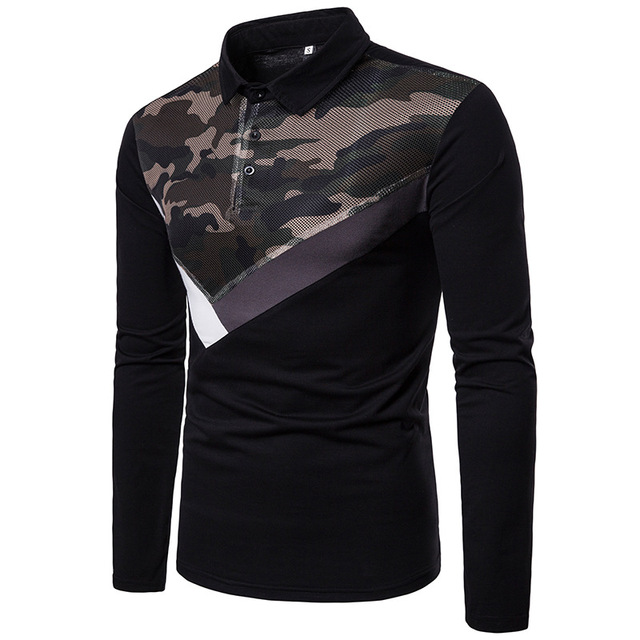 Men's poloshirts camouflage Autumn Winter net Yarn Coupling Fashion Design male lapel long-sleeved polo shirt stranger things