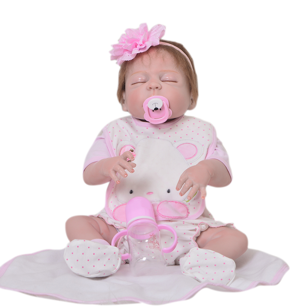 Newborn Doll 23 Inch Reborn Baby Girl Doll Closed Eyes Lifelike Full Body Silicone 57cm Baby Toy Kid Birthday Gift Child Present baby girl arianna on board novelty car sign gift present for new child newborn baby page 4