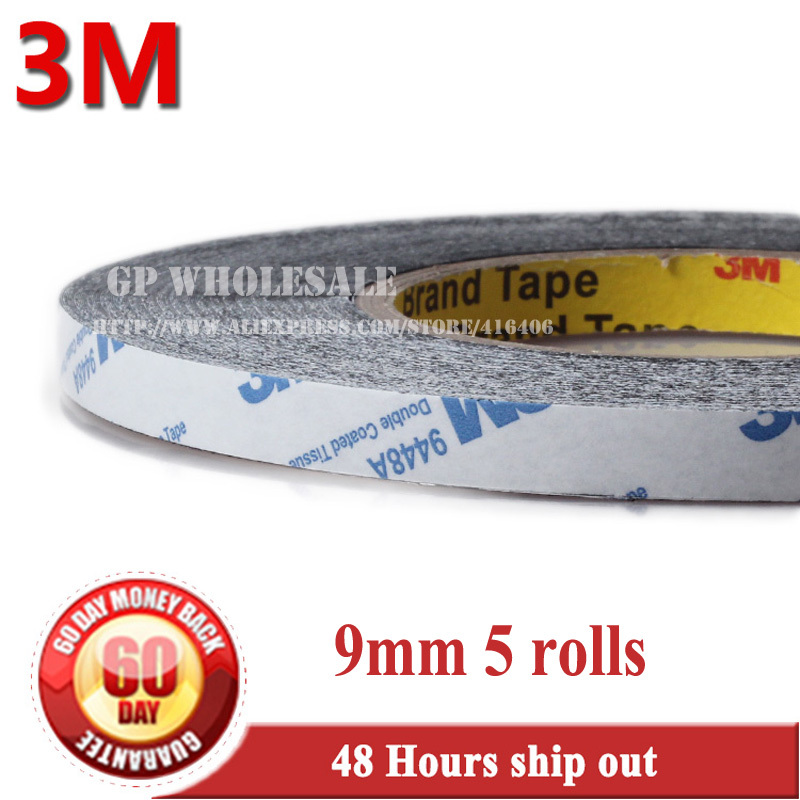 5 rolls (9mm* 50 meters) 3M Double Face High Adhesion Adhesive Black Tape for Home Appliance Control Panel, Car Parts Screen Fix