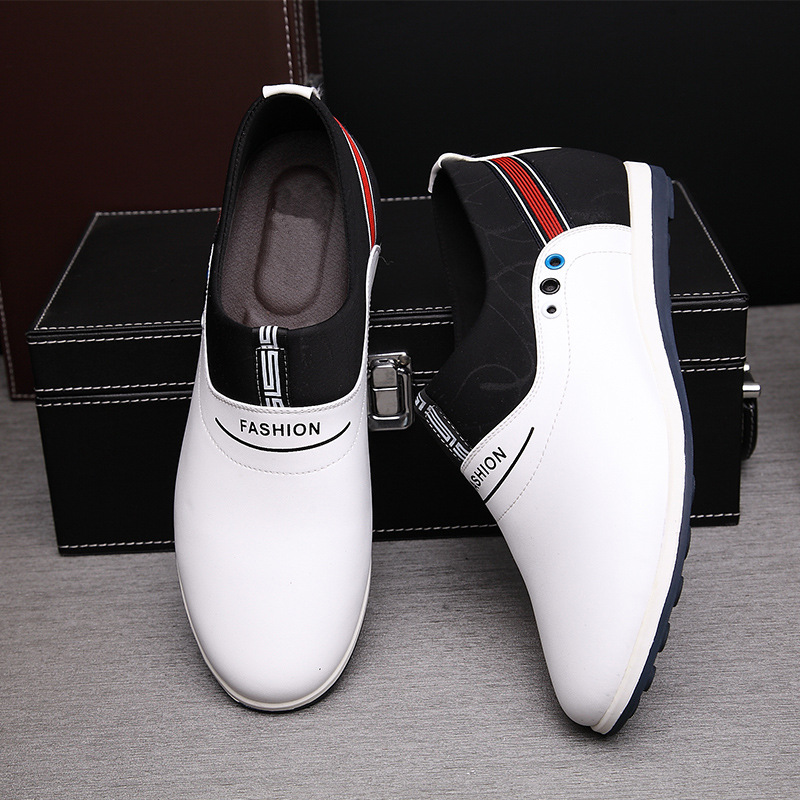 Fashion Genuine Leather Men Casual Shoes Slip on Male Sports White Shoes Increase Zapatos Moccasins for