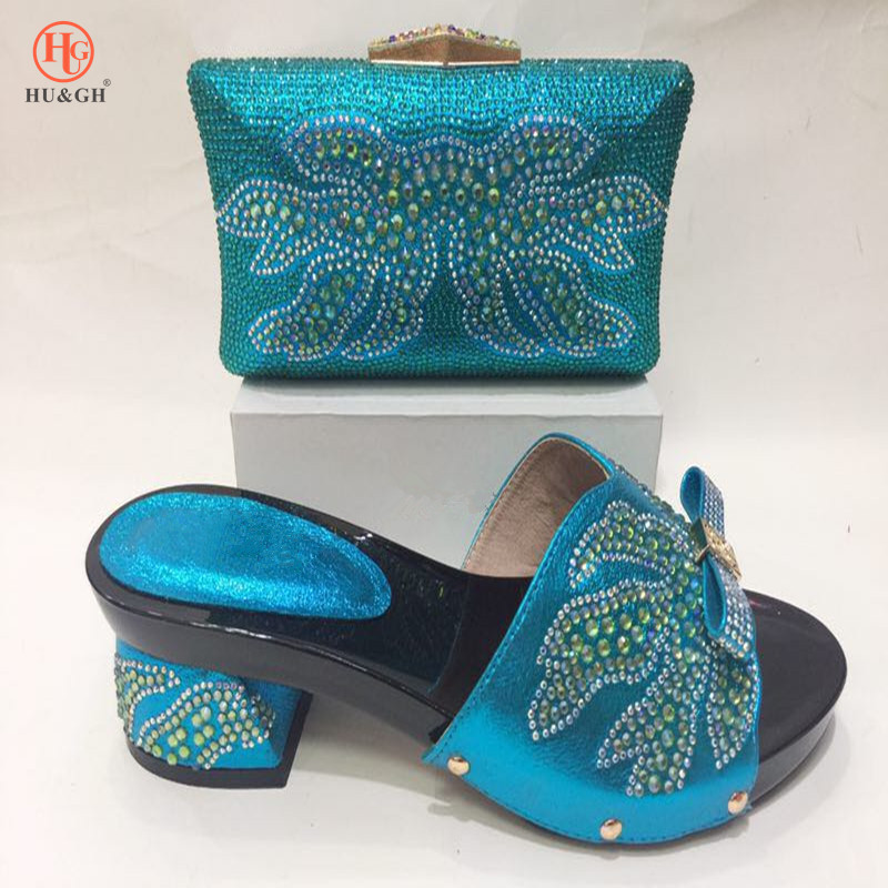 2018 New Sky blue African Cyrstal wedding shoes with matching bags Set Italian woman shoe and bag set fashion shoes women Pumps italian shoe with matching bag set for wedding african matching shoe and bag set with stones high quality women pumps red gf24