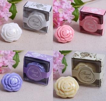 20Pcs White Yellow Pink Purple Wedding Giveaways Flower Soap Savon Wedding Favors Soap Wedding Souvenirs Return Presents Gifts rose