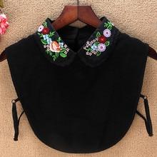 MIARA.L Women's detachable collar shirt vest lace chiffon wild print embroidery fake  doll  stand collar недорого