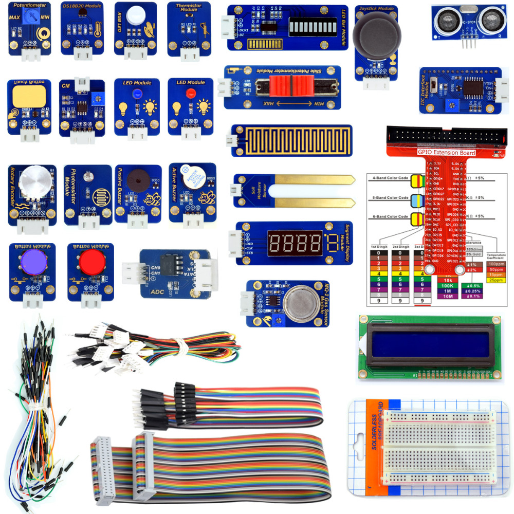 Adeept 24 in Sensor Modules Kit for Raspberry Pi 3 2 B/B+ with Tutorial tengying l298n motor driver board for raspberry pi red