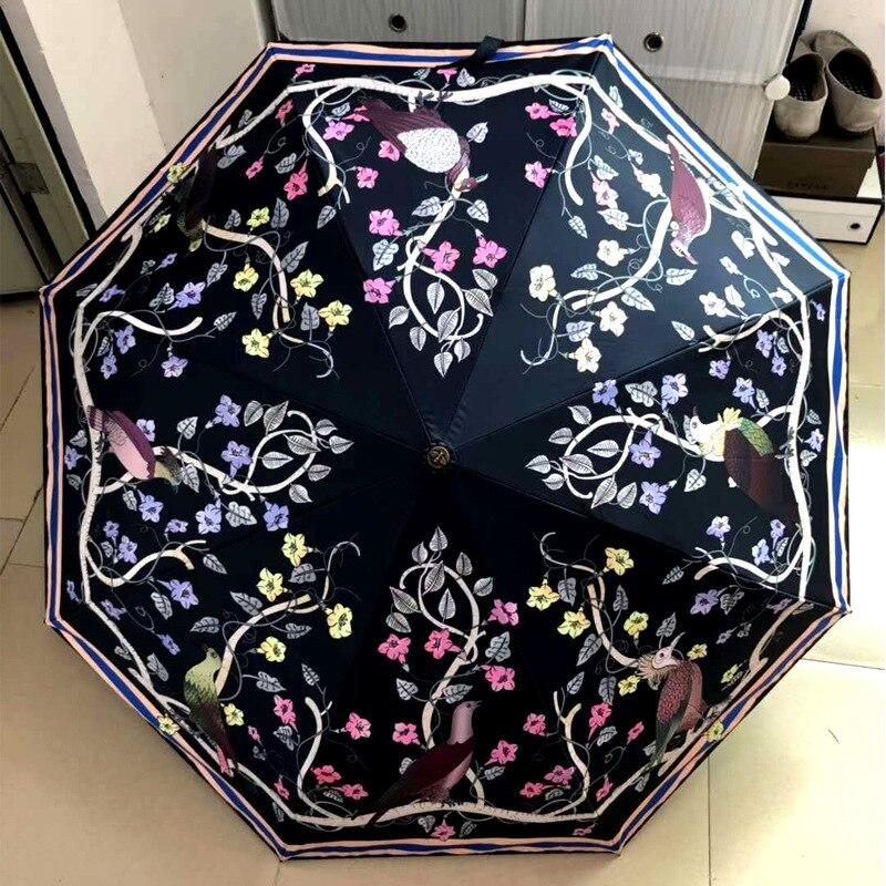 Parapluie automatique de marque à trois plis pour femme cadeau an-ti Parasol