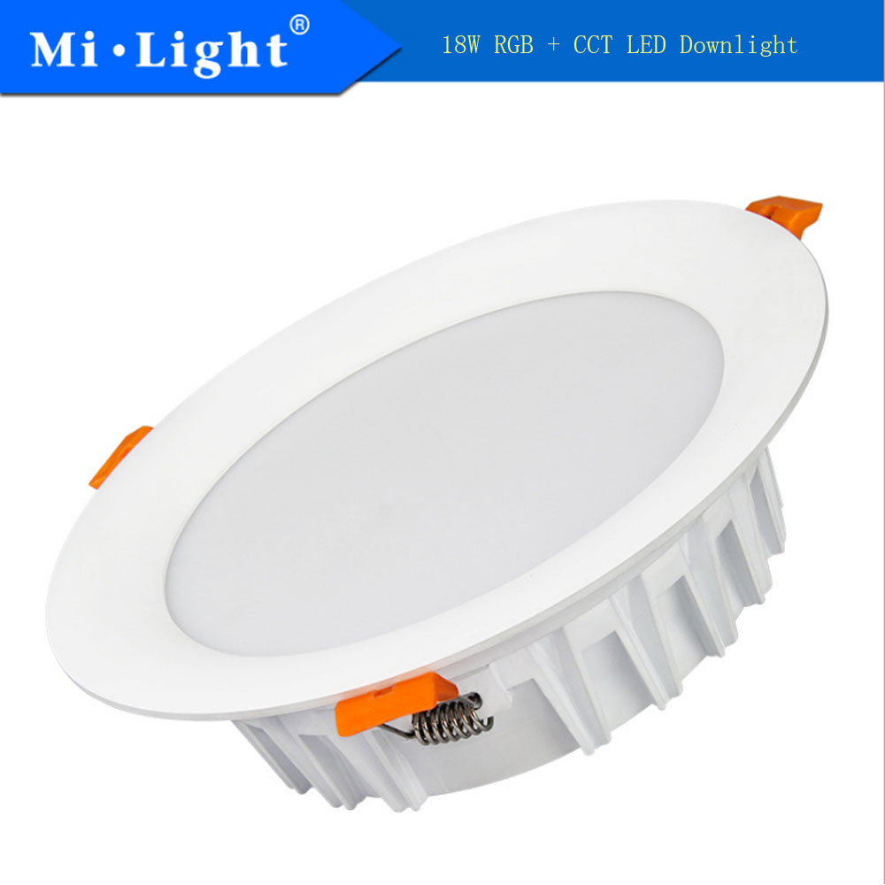 Milight FUT065 18W RGB+CCT LED Downlight AC100-240V Led Lamp Dimmable Led light 2.4GHz Remote Control Or Sartphoto APP control cybernetics or control