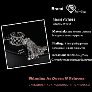 Image 2 - Luxury Royal Tassel Crown Rings For Women With Top Quality Cubic Zircon Adjustable Tassel Ring bague femme AR014
