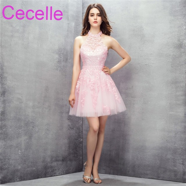 Pink Cute Short Mini Cocktail Dresses 2018 Halter Beaded Lace Tulle ...