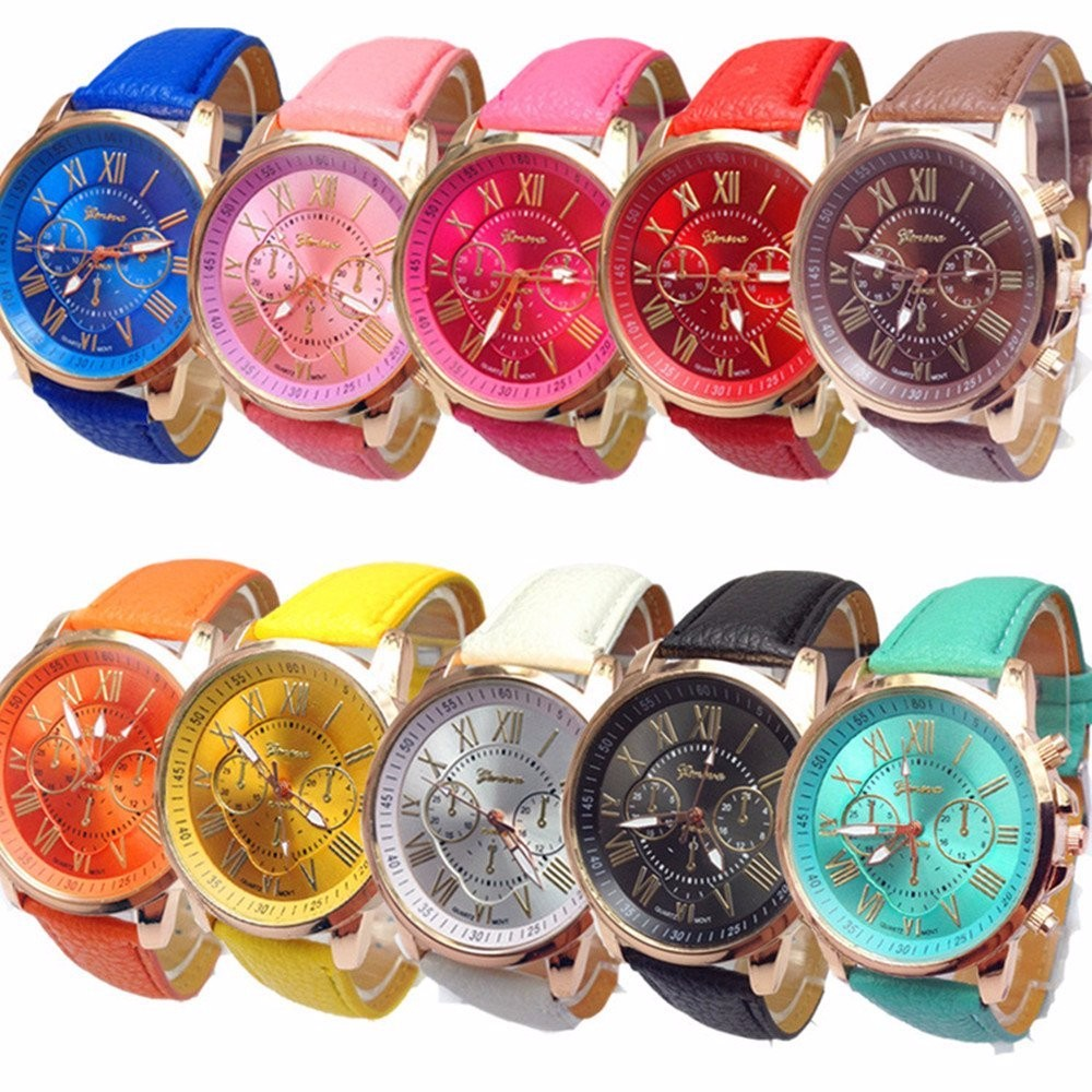 10pc Colorful Fashion Geneva Watches Women Wholesale Roman Numerals Faux Leather Analog Quartz Watch Wristwatch Relojes Mujer