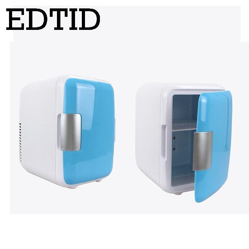EDTID Car Home Refrigerator Travel Vehicle Auto Beer Drink Cooler Freezer Meal Warmer Cooling Heating Box Fridge 4L 12V 220V EU