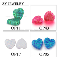 Free Shipping 20pcs 10*10mm Heart Opal For Necklace And Bracelet Making Heart Shape Snow White/Blue/Pink/Green Opal Charm
